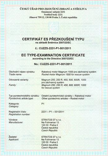 Certifikát ES přezkoušení raketového motoru