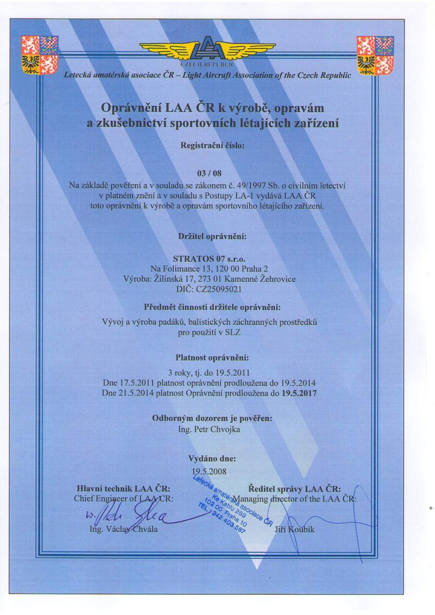 LAA´s (Light Aircraft Association of the Czech Republic) permission to production, servis and testing