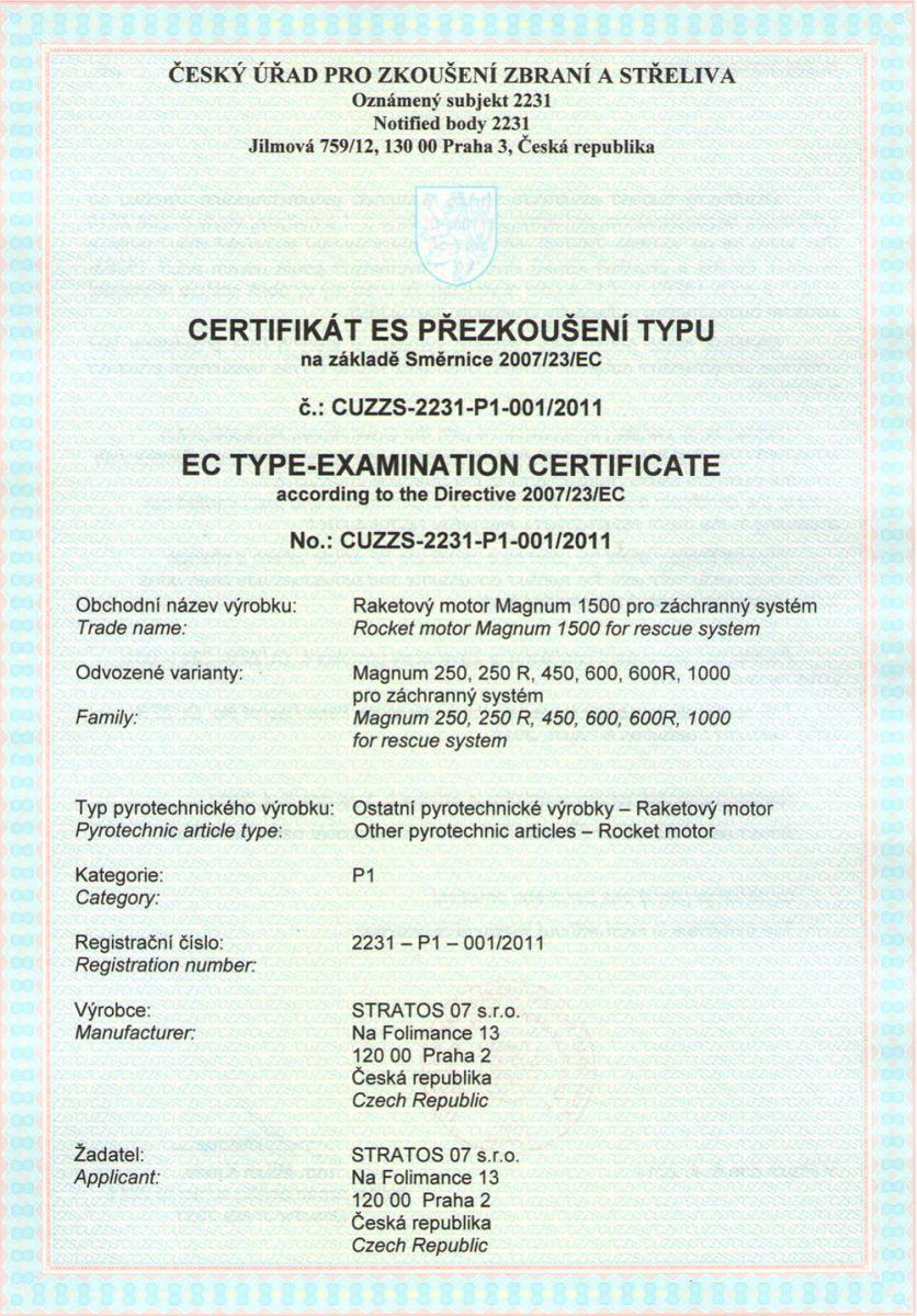 Certificate for rocket engine